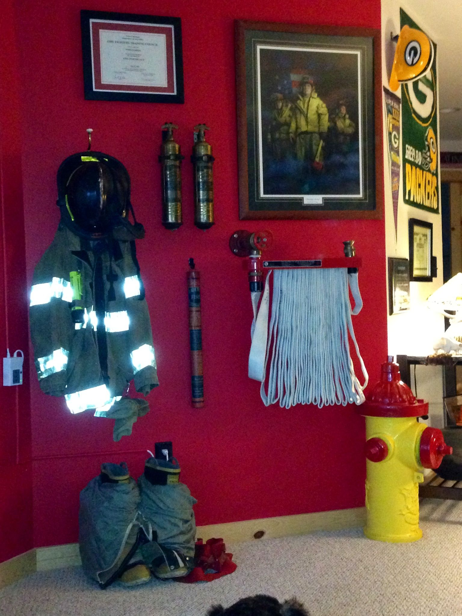 Updated Picture Of My Hubby S Firefighter Wall In His Man Cave He Added The Hydrant Which Was Taken Out Service Our Home Town
