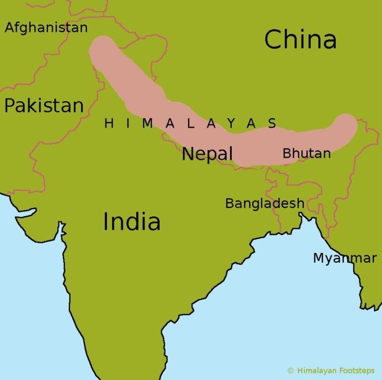 Himalayan Mountains World Map Himalayan Map Himalaya Mountains Himalayas On World Inspiring And