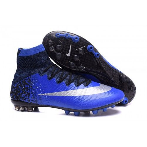 Nike Mercurial Superfly CR7 AG Flywire High Top Mens Football Boots Blue  Black White e7d1847565