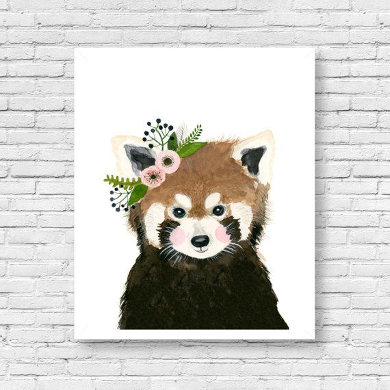 Watercolor Red Panda Genevieve Woodland Nursery Animal