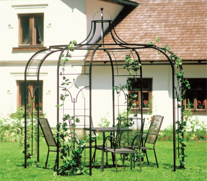 Elegant Gartenpavillon Metall Sultano Schwarz cm
