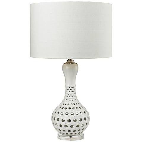 Ella Open Work Gloss White Ceramic Table Lamp 9v510 Lamps Plus Ceramic Table Lamps Table Lamp Lamp