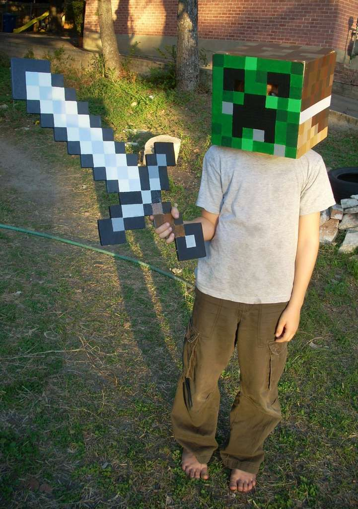 minecraft costumes.  Boys will LOVE these!