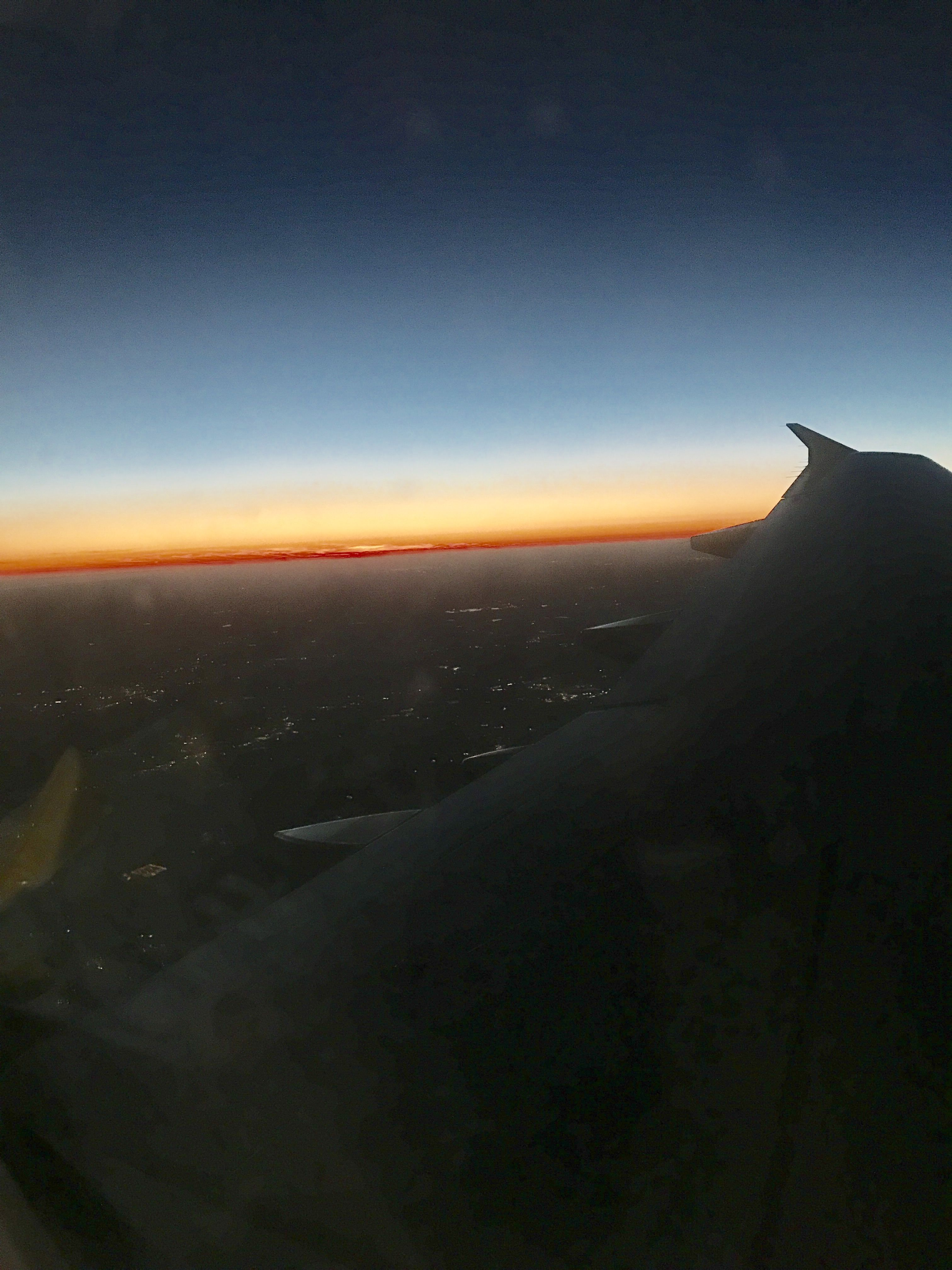 Sunset from 30,000 feet above Fort Lauderdale