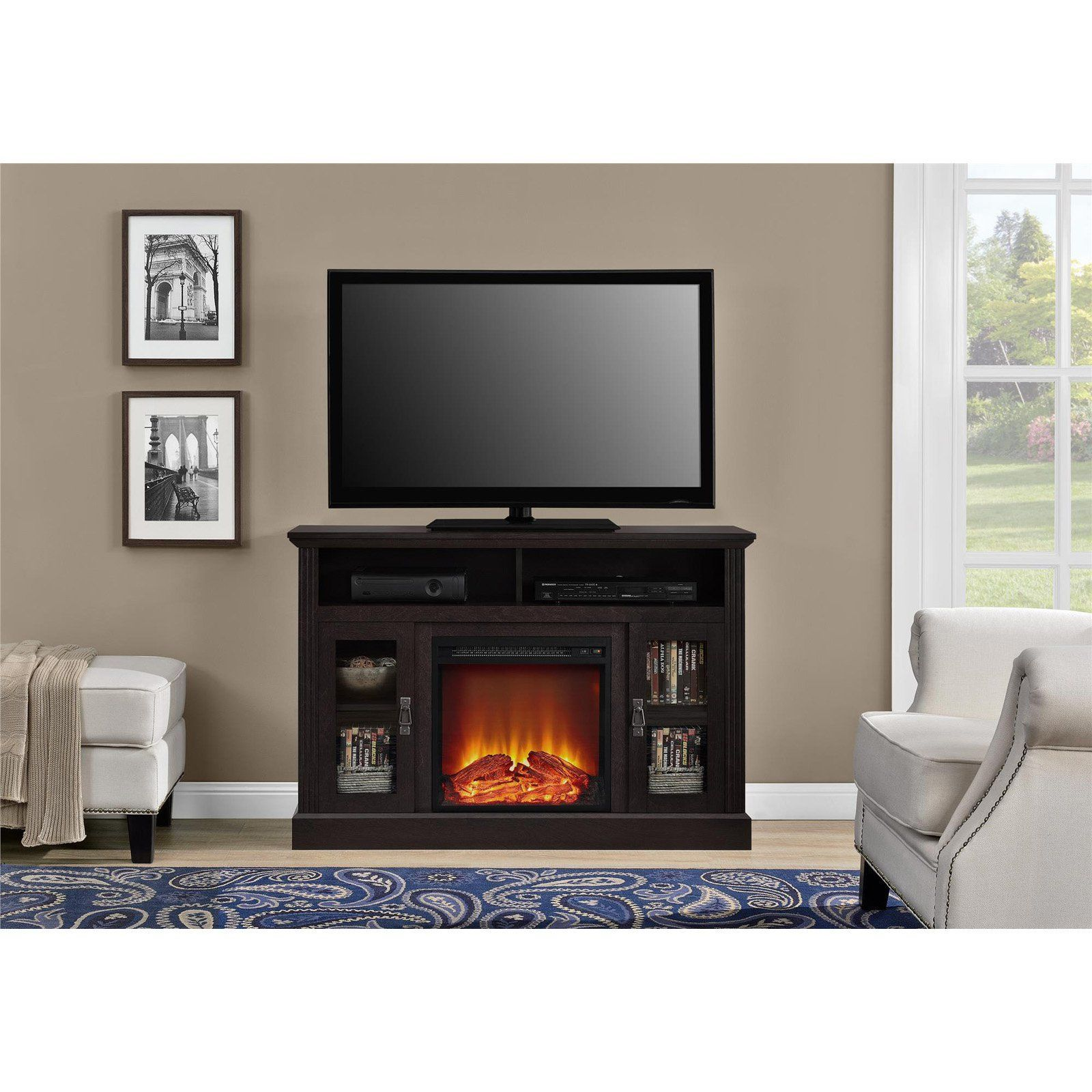 Ameriwood home chicago electric fireplace tv console pcom