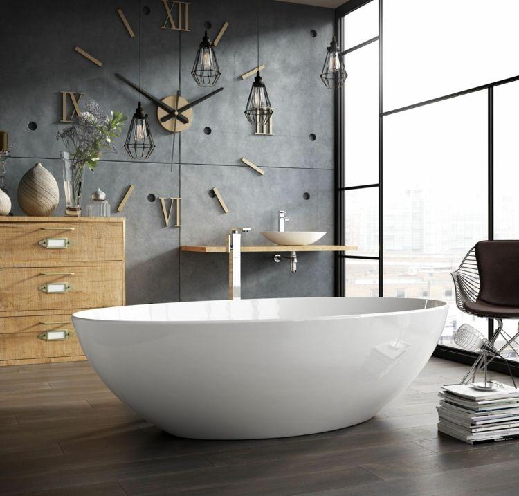 Badezimmer Modern Riesen Wanduhr Xxl Metall Freistehende Badewanne Innendekoration Badezimmer Badezimmer Einrichtung