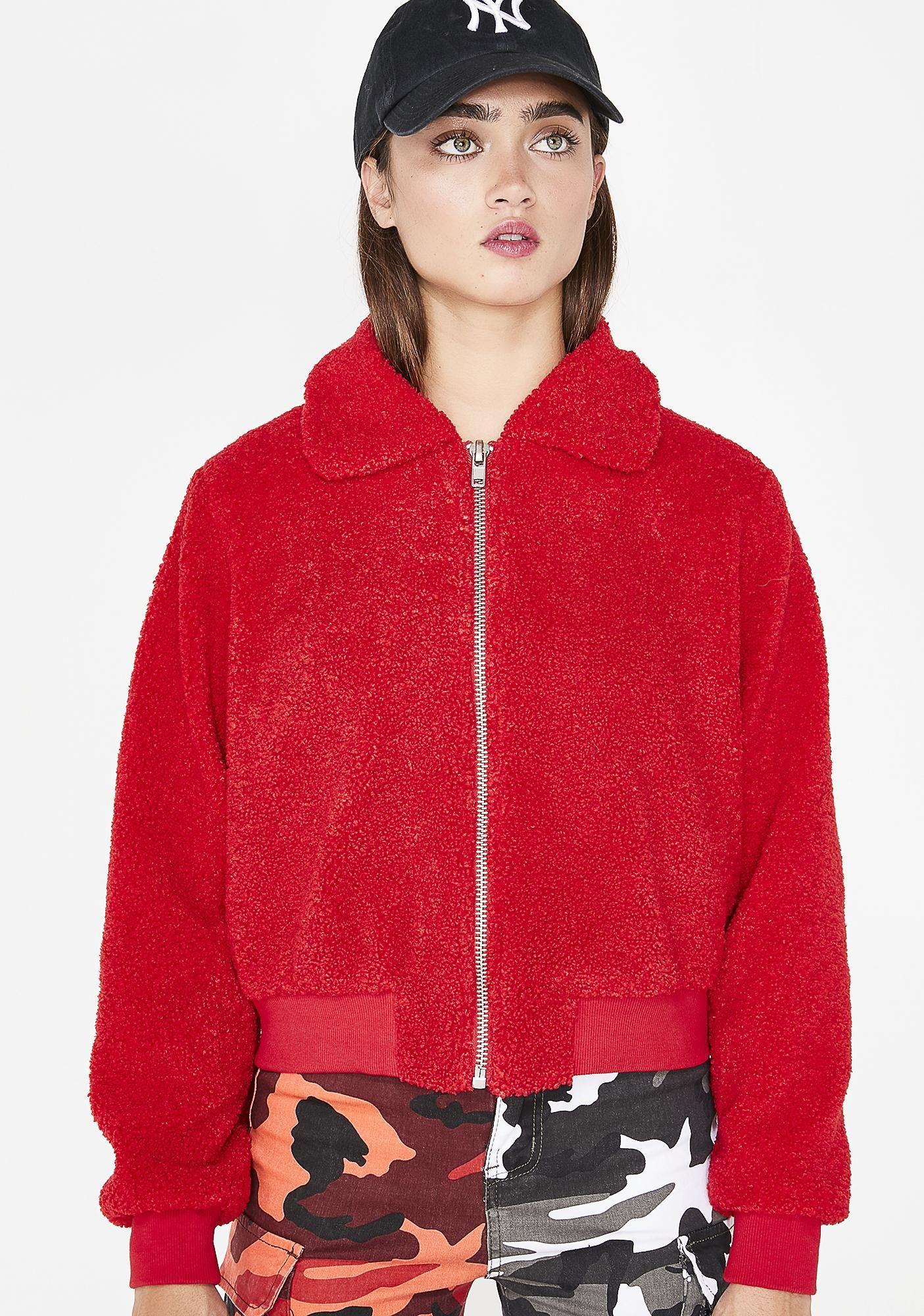 Hollow Heart Fuzzy Jacket Red Bomber Jacket Fuzzy Jacket Jackets [ 2000 x 1405 Pixel ]