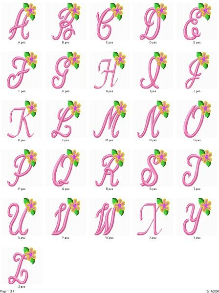 Monogram With Tropical Flower For Machine Embroidery