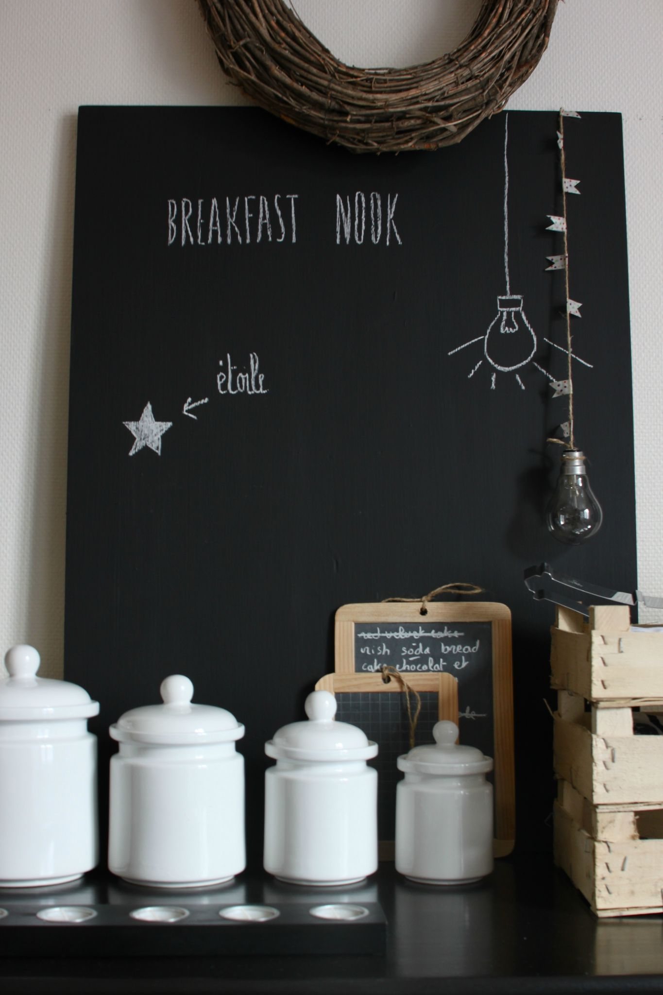 tableau noir pour mettre dans la cuisine ou dans l 39 entr e bonnes id es deco d co maison et. Black Bedroom Furniture Sets. Home Design Ideas