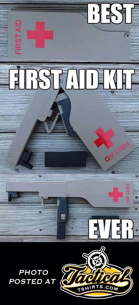 a magpul fpg (folding pocket gun) painted like a first aid kit. ready to fuck up some law-abiding soldiers who cant shoot a person with a red cross on them? you've found your gear