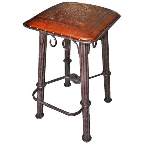 Western Iron Antique Brown Colonial Barstool