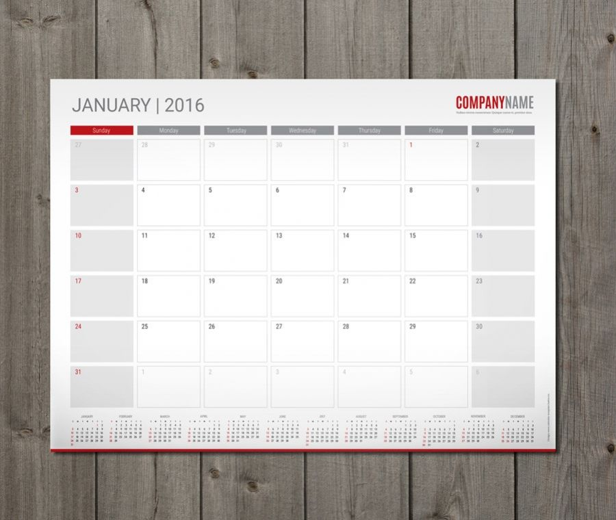 Monthly Desk And Wall Planner Template Design PmWA  Plannig