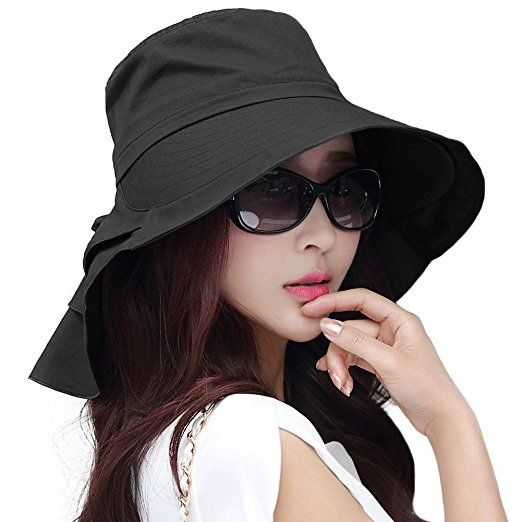 Siggi Womens Wide Brim Summer Sun Flap Bill Cap Cotton Hat Neck Cover UPF 50 + dd56ee56d6a3