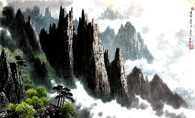 (North Korea) by Hwang Byeong ho (1942-  ). Korean brush watercolor.