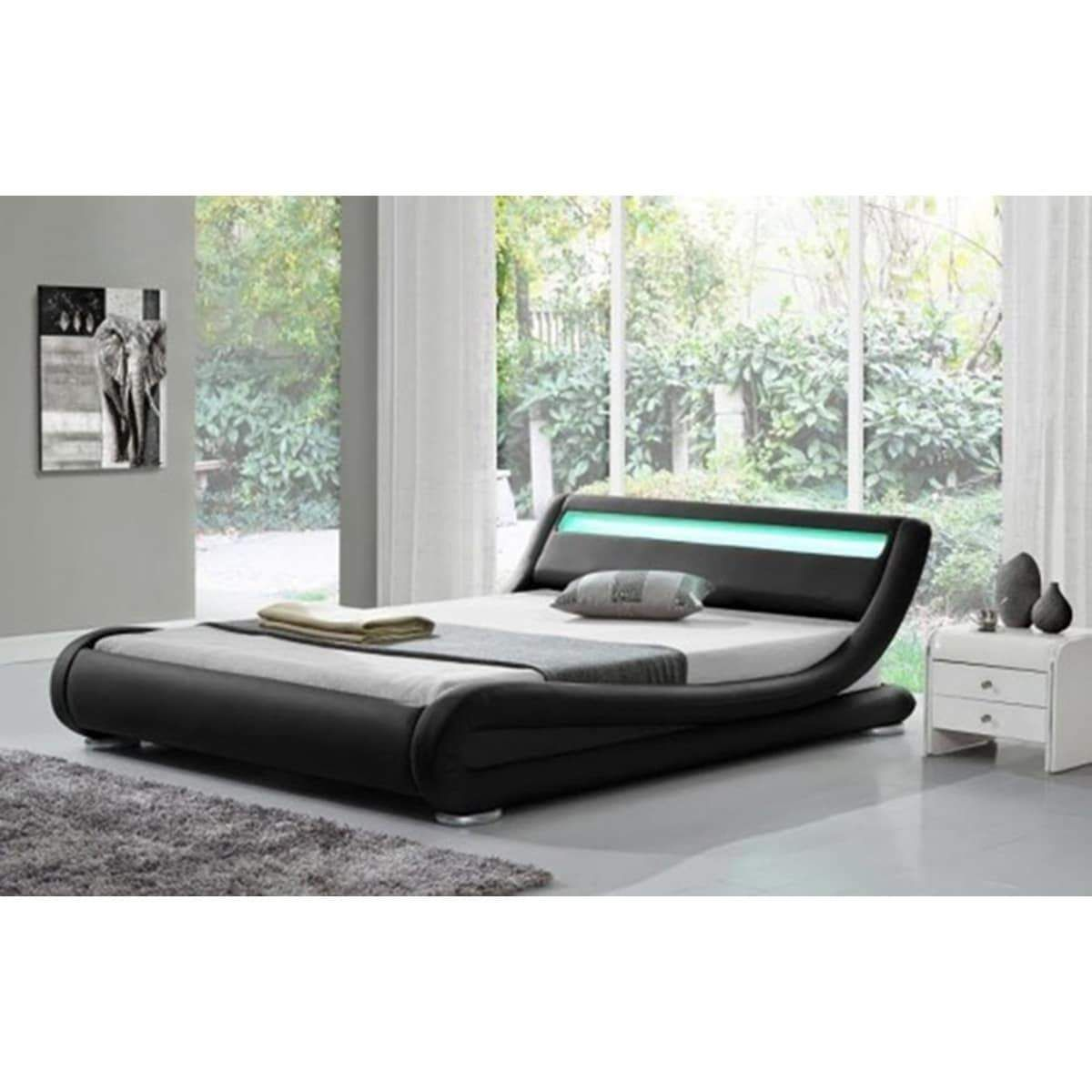 ladeso sl edgewater modern king black led bed products pinterest