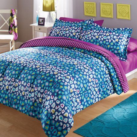 Your Zone Seer Ered Multi Color Cheetah Bedding Comforter And Sham Set Multicolor