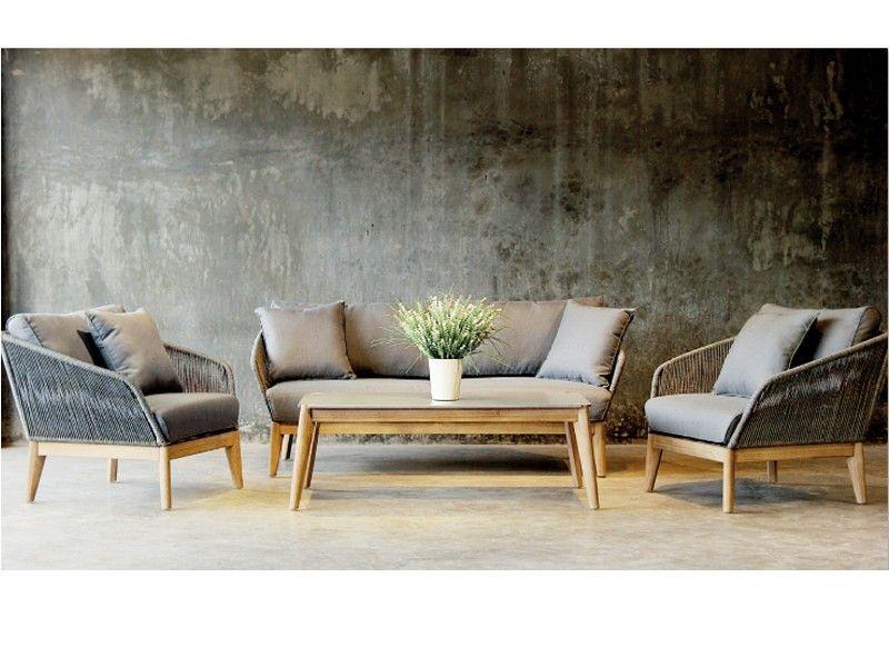 Best Gartenmobel Set Lounge Gruppe Samos 4 Tlg Inkl Auflagen Und 2 Kissen Eukaltyptus Rope Gartensofa Mobel Gartenmobel