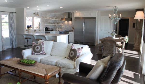My favorite home layout kitchen living dining all in - Small open concept kitchen living room ...