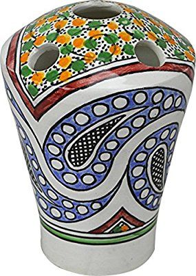 Fes / Granada 5 hole Multicoloured Ceramic Hand painted Moroccan toothbrush holder - L4 W7 H17 cm