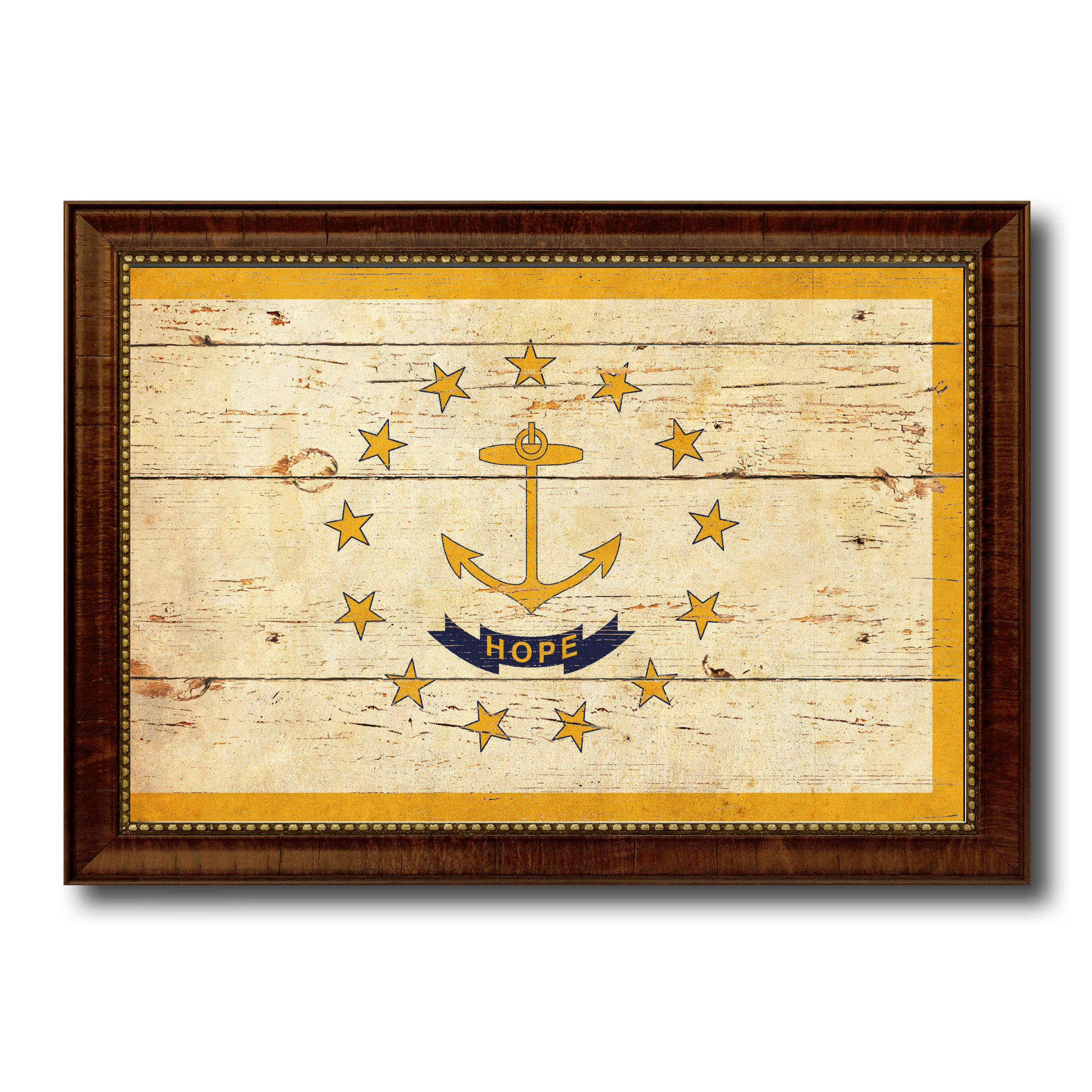 Rhode Island State Vintage Flag Canvas Print with Brown Picture ...