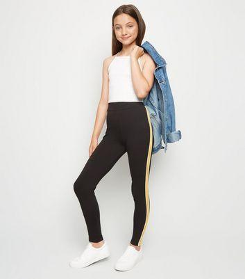 Girls Yellow Side Stripe Leggings New Look #stripedleggings