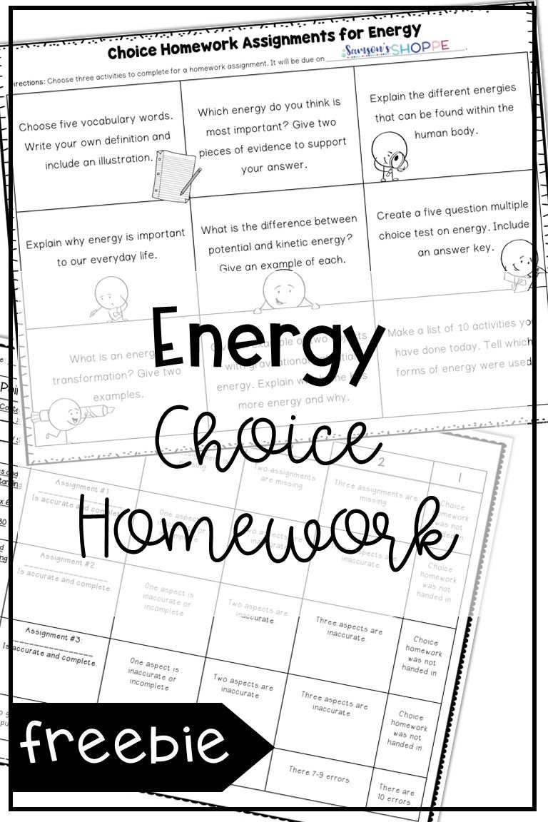 Energy Choice Homework Assignment and Rubric FREE