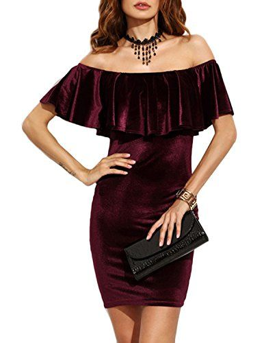 26a29c41e5bc HaoDuoYi Womens Sexy Off Shoulder Flare Velvet Bodycon Mini Dress(XL,Wine  Red)