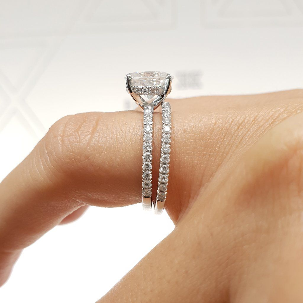 2.8 carat Cushion Cut Moissanite Invisible Gallery™ Ring