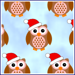 Free printable cute owl in red santa hat with blue background craft backing paper