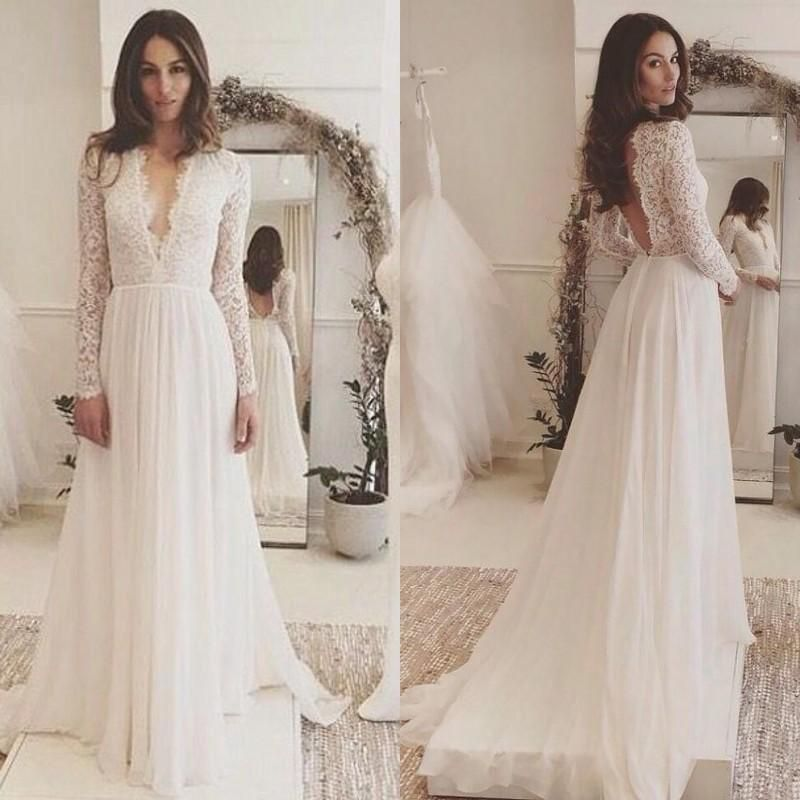 Discount Chic 2018 Lace Long Sleeve Backless Bohemian Beach Country Wedding Dresses Cheap Deep V Neck Beach Wedding Gown Boho Bridal Gowns V Neck Wedding Dress