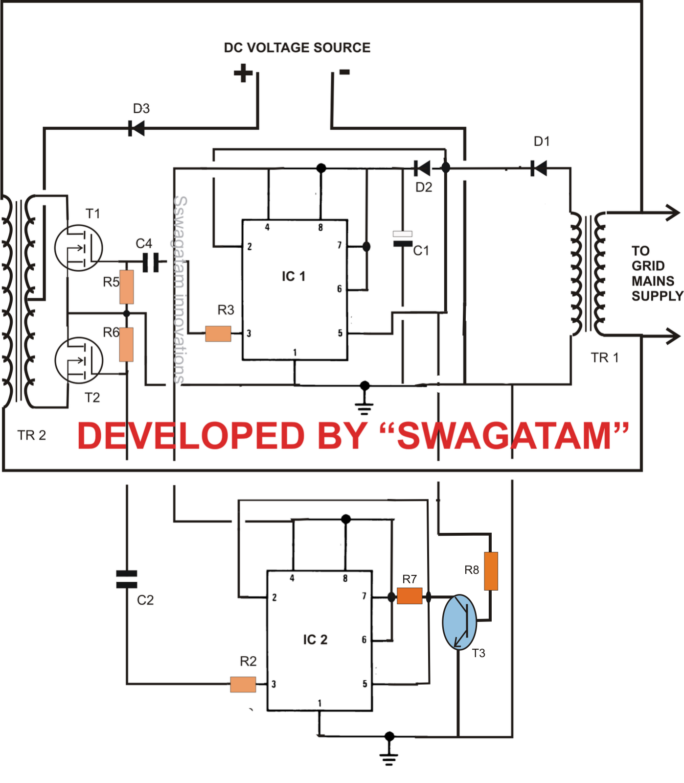 Designing A Grid Tie Inverter Circuit Homemade Circuit Projects In 2020 Circuit Projects On Grid Solar System House Wiring