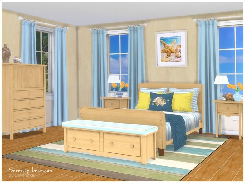 A Set Of Furniture And Decor For The Bedroom In Marine Style. Found In TSR