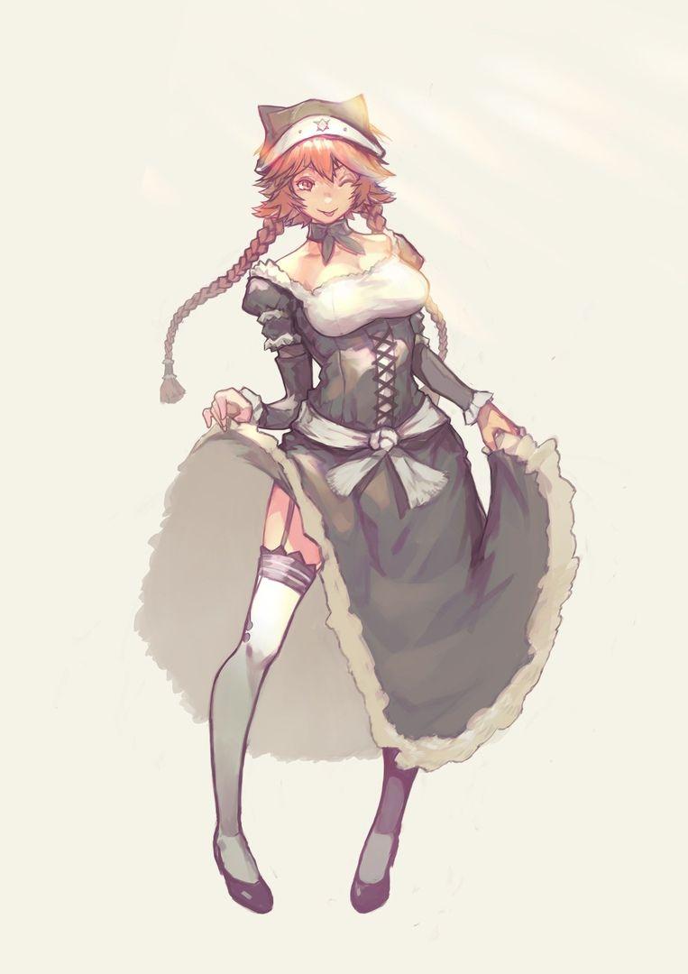Anime Overlord Lupusregina Redhead BrownEyes Maid Stockings Hat