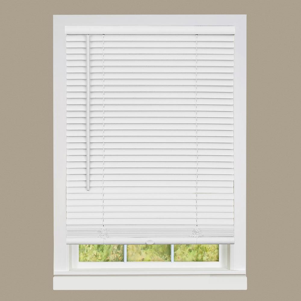 Achim Gii Deluxe Sundown White Cordless Room Darkening Vinyl Mini Blind With 1 In Slats 35 In W X 64 In L Dsg235wh06 The Home Depot Shades Blinds Vinyl Blinds Blinds