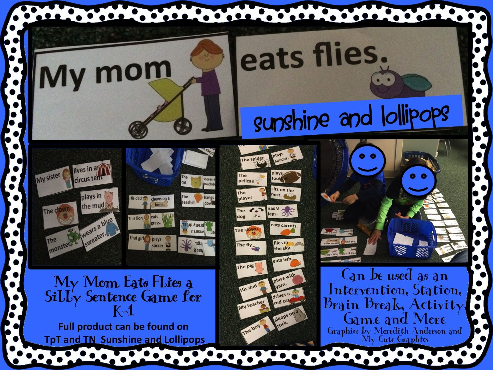 My Mom Eats Flies Fun Silly Sentence Game For K 1 Can Be