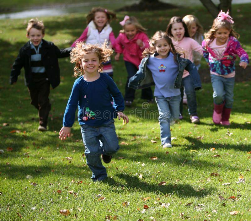 Diverse running kids. Group of diverse kids running