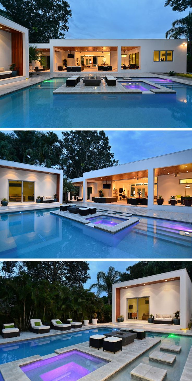 6 Swimming Pool Designs That Have Island Platforms Within Them Luxury Swimming Pools Modern Pools Modern Pool House