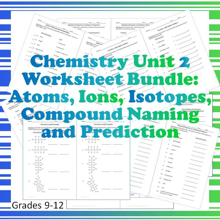 Chemistry Worksheet Bundle! The second unit of the year is covered ...