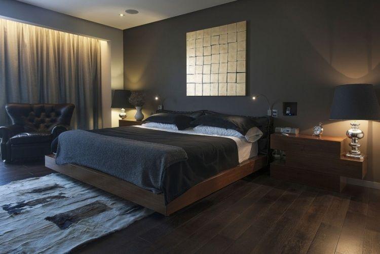 Wandfarbe Anthrazit im Schlafzimmer und dunkle Holzmbel  Schlafzimmer in 2019  Schlafzimmer