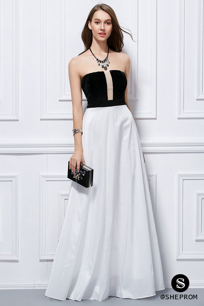 Simple Two Tone Strapless Long Dress 92 Ck425 Sheprom
