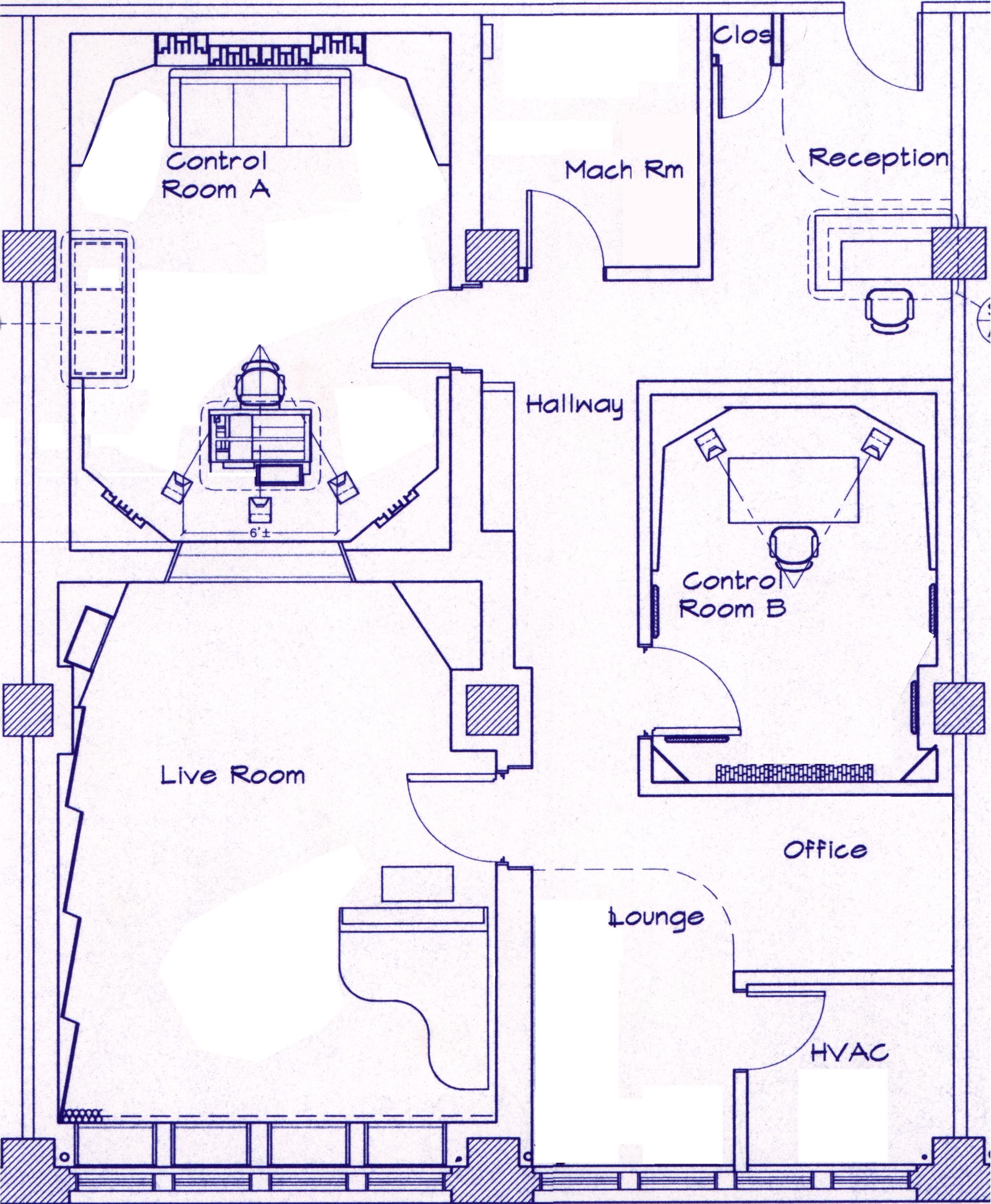 Recording studio design floor plans for Music studio floor plans