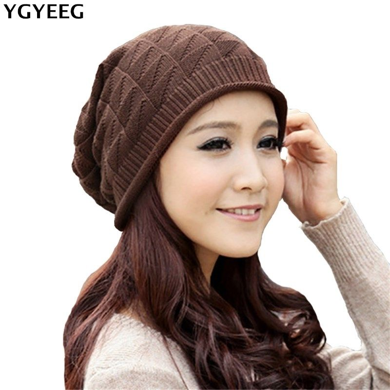 2bb86a4382e00 YGYEEG Warm Plaid Stripe Benies Women Crochet Unisex 2017 Beanie Knitted  Comfortable Ski Cap Oversized Slouch