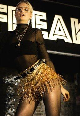 097606ea91 Gold La Bamba Sequin Festival Hot Pant Shorts