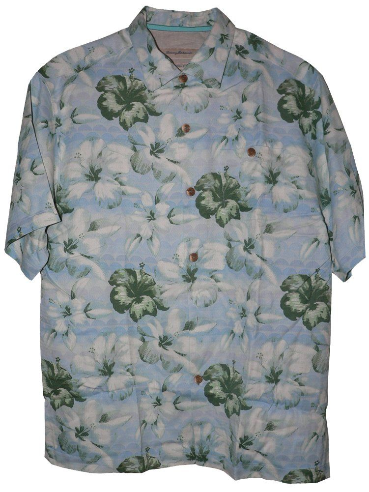 Tommy Bahama Hibiscus Terrace Silk Camp Shirt (Color: Shady Lane, Size 3XL)