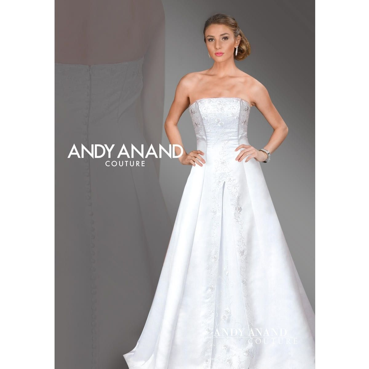 Andy anand couture strapless beaded satin bridal gown products