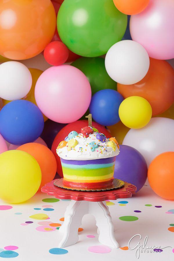 1st birthday cake smash Orange County Photographer Rainbow