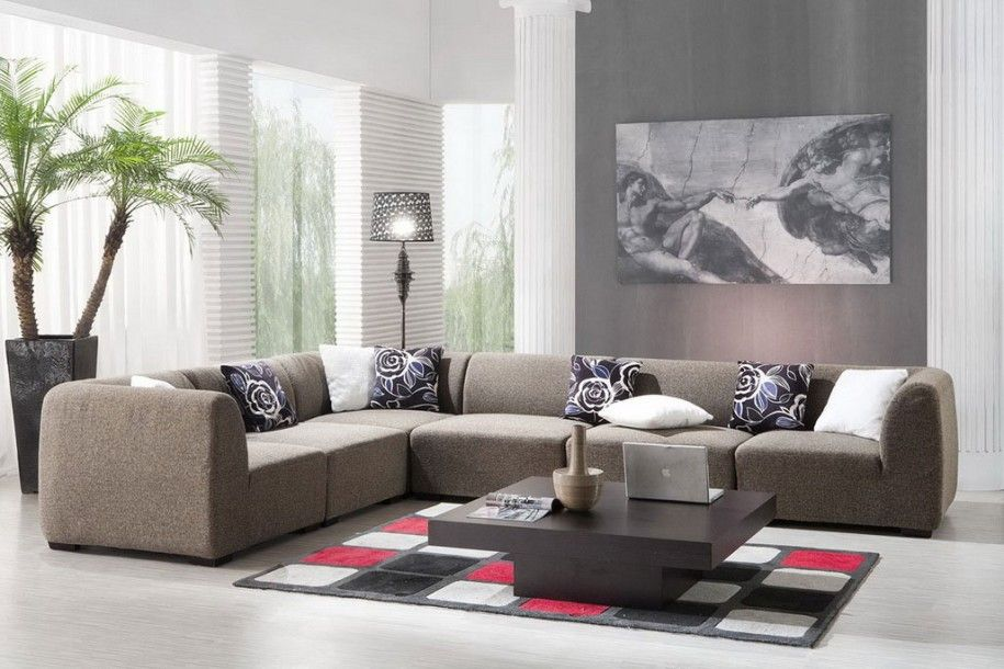 Elegant Simple Living Room Interior Design With Big Picture Interior Design