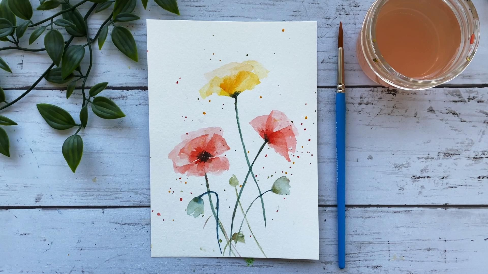 Easy Watercolor Flowers | Watercolor Poppies For Beginners | watercolor poppy tutorial