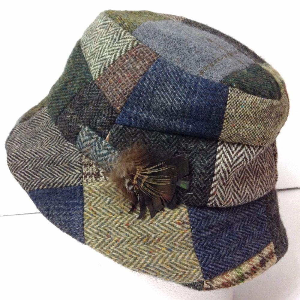 vtg ORVIS BUCKET HAT Patchwork Multi-color Tweed WOOL MADE IN IRELAND Mens  Large  Orvis  Bucket d41273bf32b