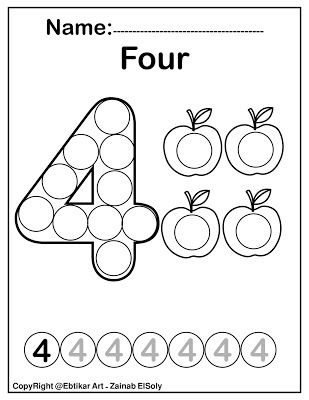 Number four 4 dot marker coloring page activity in 2020 ...